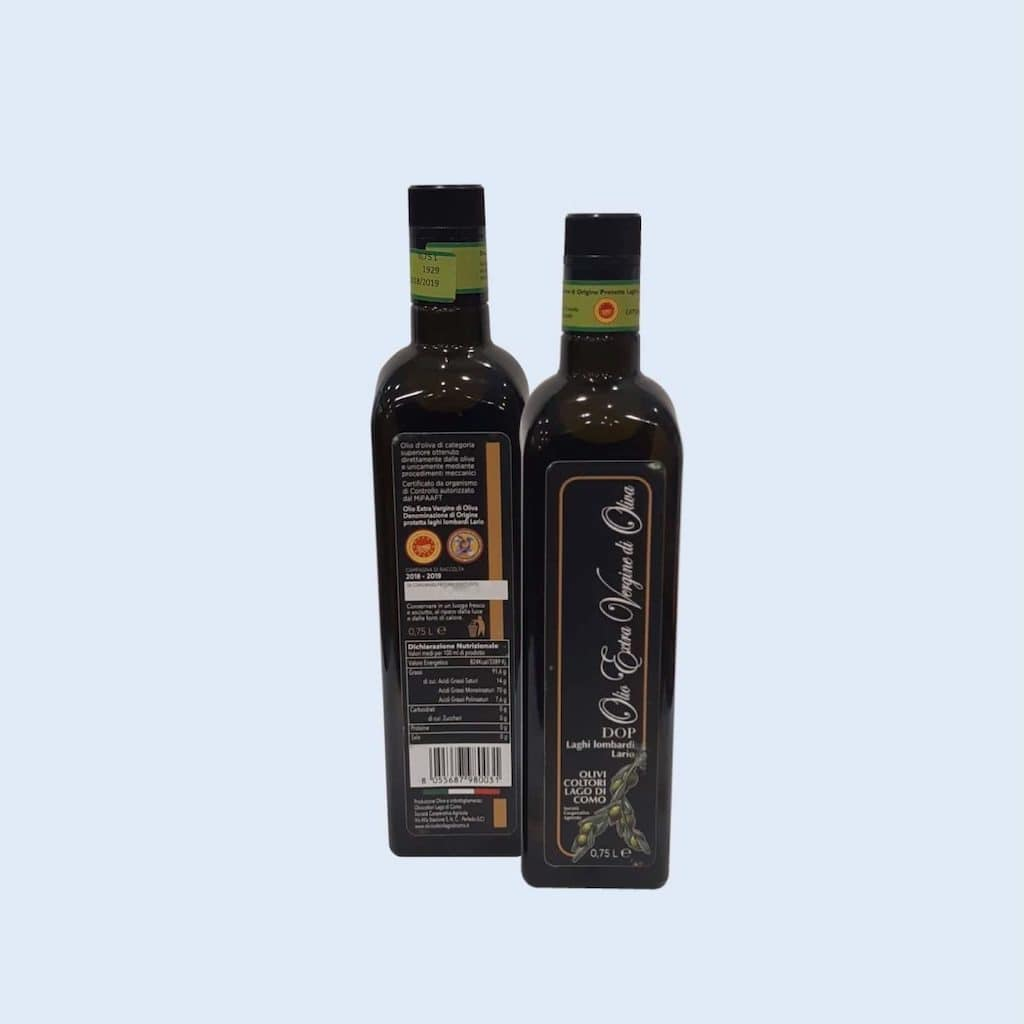 Bottles of extra virgin olive oil from Lake Como