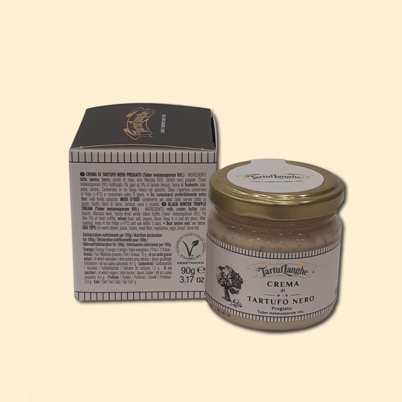 Jar of black truffle cream food shop Bellagio