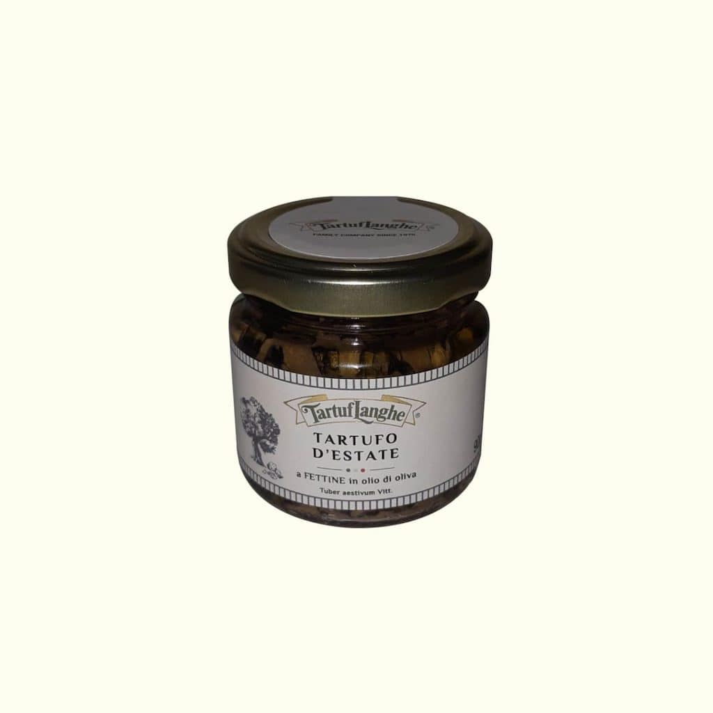 Jar of white sliced truffle food shop Bellagio