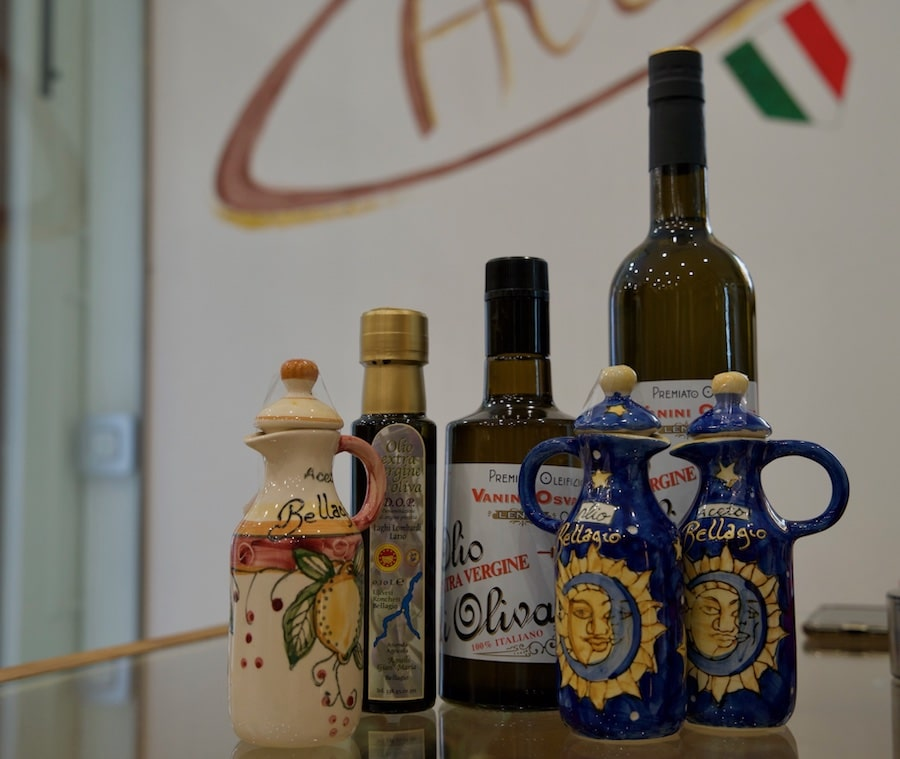 Different bottles of Lake Como olive oil
