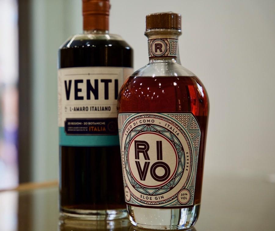 two bottles of Italian Gin Rivo produced on Lake Como